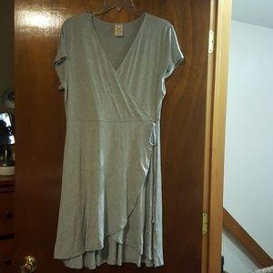 NWOT Grey wrap dress